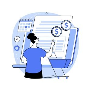 concept art of customer examining scheduled payments and more on form